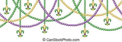 Mardy gras horizontal seamless border with beads