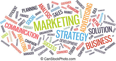 Marketing business strategy word cloud vector illustration. Isolated on white background