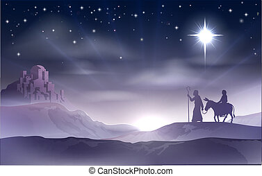 An illustration of Mary and Joseph in the dessert with a donkey on Christmas Eve searching for a place to stay. Bethlehem city in the background. Nativity story illustration.