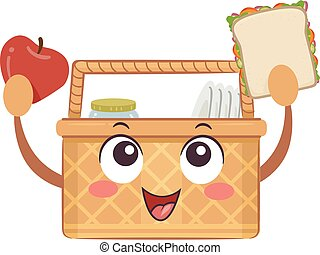 Mascot Picnic Basket Foods Illustration