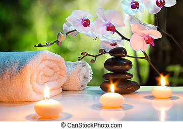 massage composition spa with candle