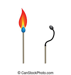 Illustration of two match sticks with burning fire and burnt