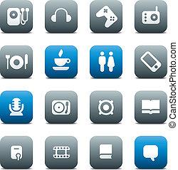 Matt buttons for music and leisure