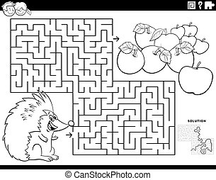 maze game with hedgehog and apples coloring book page