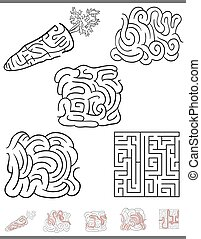 Illustration of Black and White Mazes or Labyrinths Leisure Games Set