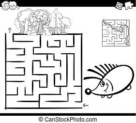 maze with hedgehog coloring page