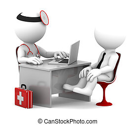 Medical consultation. Doctor and patient talking at the office. Isolated over white