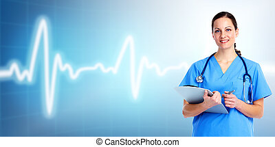 Medical doctor woman. Over cardio background. Health care.
