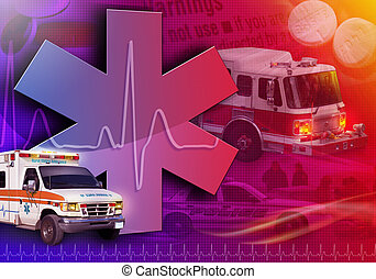 An abstract medical rescue collage with an ambulance, firetruck and police car. There is a heart beat pulse in the background with pills.