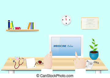 Medicine Online concept vector