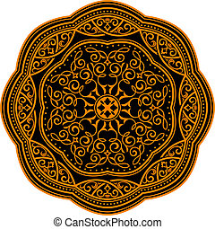 Circle ornament in medieval style for decorate plates or another background