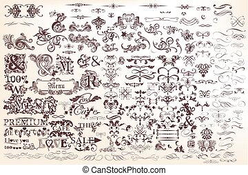 Mega collection or set of vector hand drawn calligraphic elements and page decorations for design