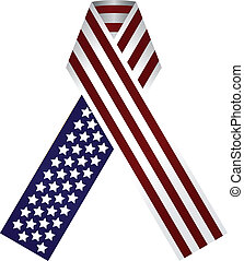 Memorial Ribbon United States of America. Use the traditional colors of the flag. Vector illustration.