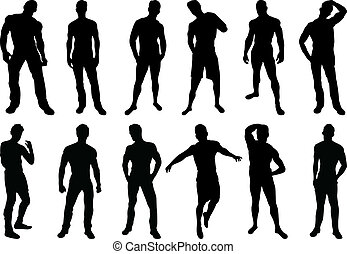 Set of 12 sexy men silhouettes on white background