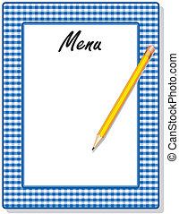 Menu, Blue Gingham Frame, Pencil