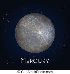 Mercury icon. First planet in solar system.