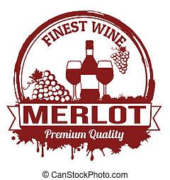 Merlot wine stamp