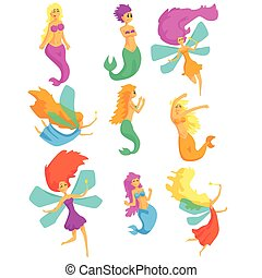 Mermaids And Fairies Fairy-Tale Fantastic Creatures With Wings And Fish Tail Set Of Colorful Cartoon Characters