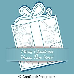 Merry Christmas card on paper with gift