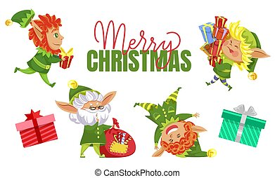 Merry Christmas Elves with Presents for Holidays