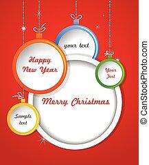 Merry Christmas greeting card template with Christmas balls