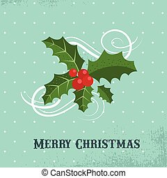 Merry Christmas greeting card template with mistletoe