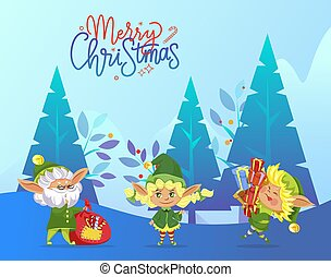 Merry Christmas Greeting Card with Happy Elves
