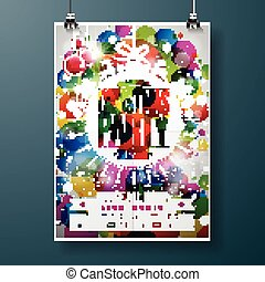 Merry Christmas Party illustration with holiday typography designs in abstract glass ball