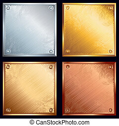 Metallic plates with screws. Gold, silver, bronze and brass variants.