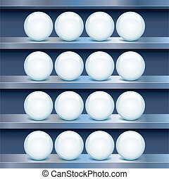 Metal Shelf with Empty Glass Buttons. Vector Image