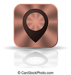 Metal square copper button with round pointer