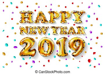 Metallic Gold Letter Balloons, 2019 Happy new year, golden Number Balloons, Ball, Air Filled. decoration, celebration, congratulation vector