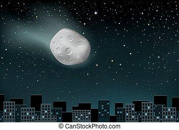 meteorite falls over the city