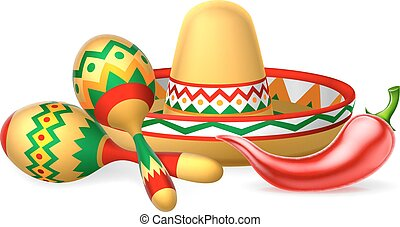 A Mexican sombrero hat, red chilli pepper and maracas shakers illustration
