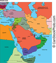 Middle East with Editable Countries, Names