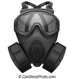 Military black gasmask respirator. Rubber army symbol of defense and protect. Isolated on white background. Bitmap copy.
