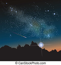 Abstract vector science image of the Milky Way with the Constellation.