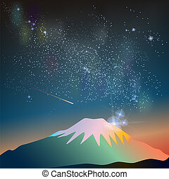 Abstract vector science image of the Milky Way with the Constellation over Fuji mountain.