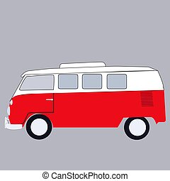 Mini bus, illustration, vector on white background.
