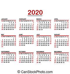 Minimalist calendar of year 2020