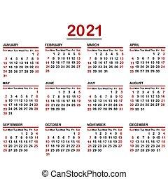 Minimalist calendar of year 2021