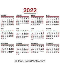 Minimalist calendar of year 2022