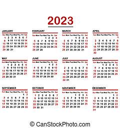 Minimalist calendar of year 2023