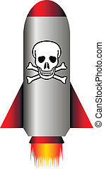Missile with a chemical weapon on white - vector illustration.