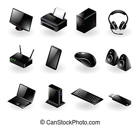 Vector set of various modern computer hardware icons