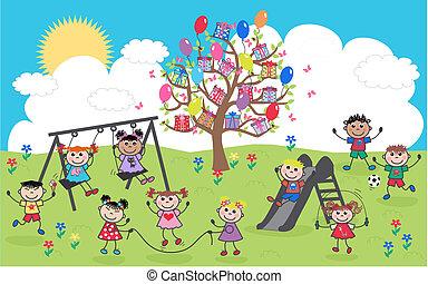 mixed ethnic happy children