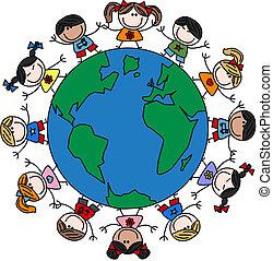 mixed ethnic happy kids
