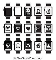 Mobile and Smart Watch Icon Set. Vector.