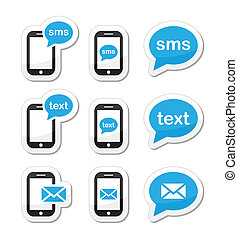 Messaging, sending text messages icons set