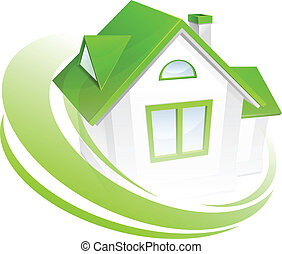 Model of house with green circle, environment concept, vector illustration